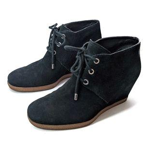 Cole Haan 6.5B Leslie black suede wedge booties